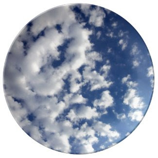 Puffy Clouds On Blue Sky Porcelain Plates