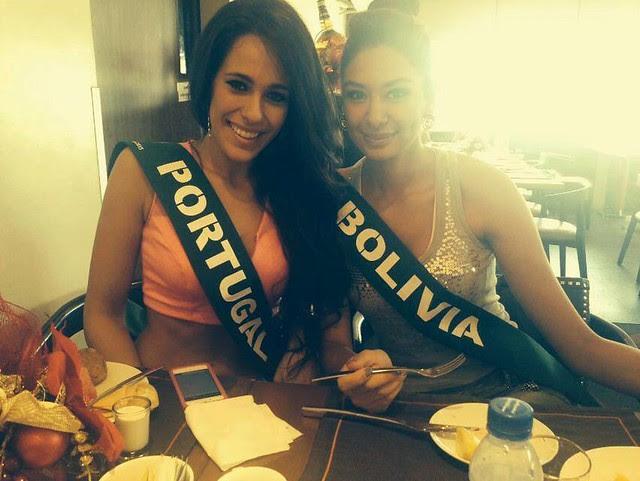 Solange Duarte, Miss Tierra Portugal 2013 y Maria Rene Carmona, Miss Tierra Bolivia 2013