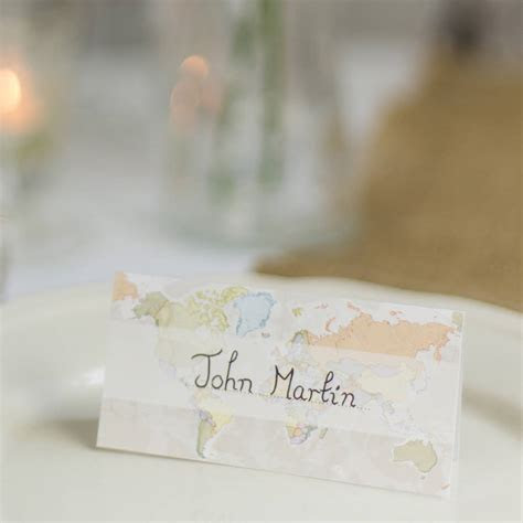 classic world map wedding place cards pack of ten by maps