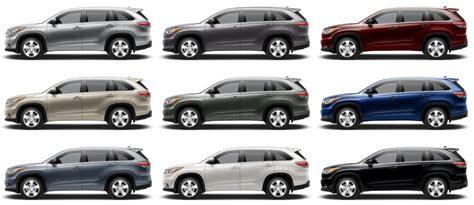toyota highlander exterior colors review  cars