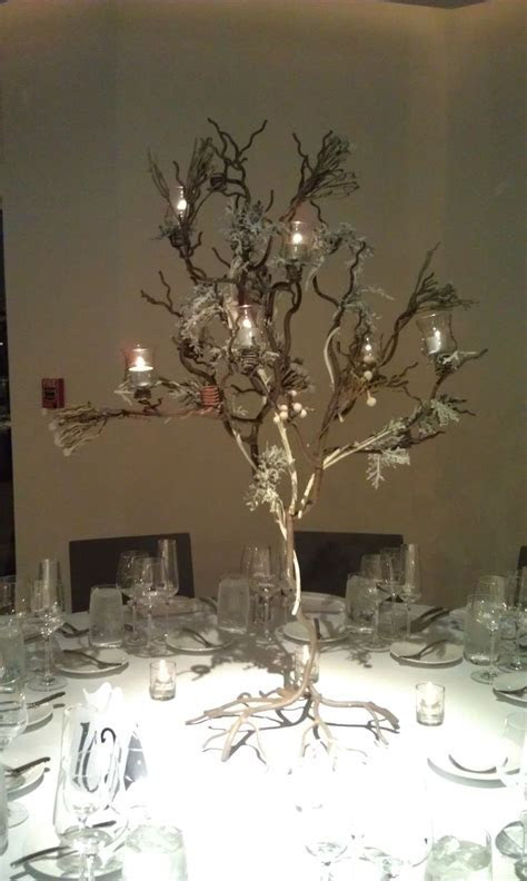 wedding centerpieces with candles and branches cheap