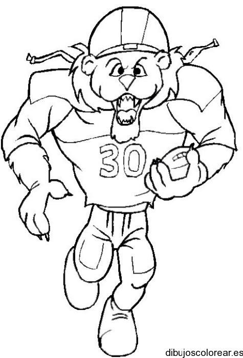 Dibujo De Un León Jugador De Fútbol Americano