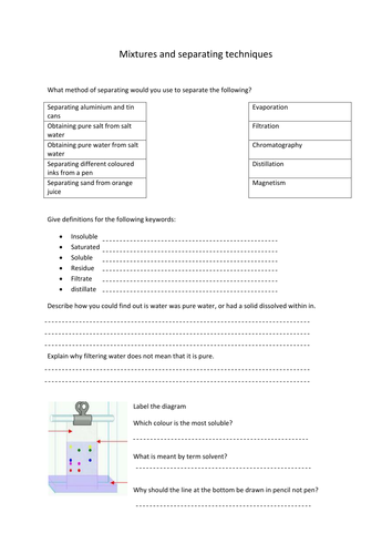 Mixtures and separating techniques by hanmphillips  Teaching Resources  Tes