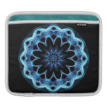 Crystal Star, Abstract Glowing Blue Mandala Sleeves For iPads