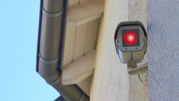 Security camera on side of house
