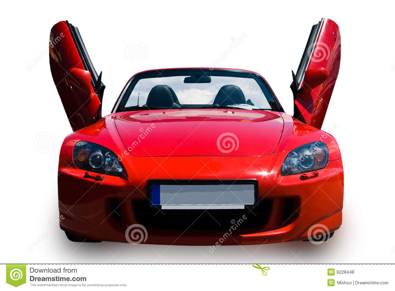 Red sports car with open doors  isolated with clipping path.