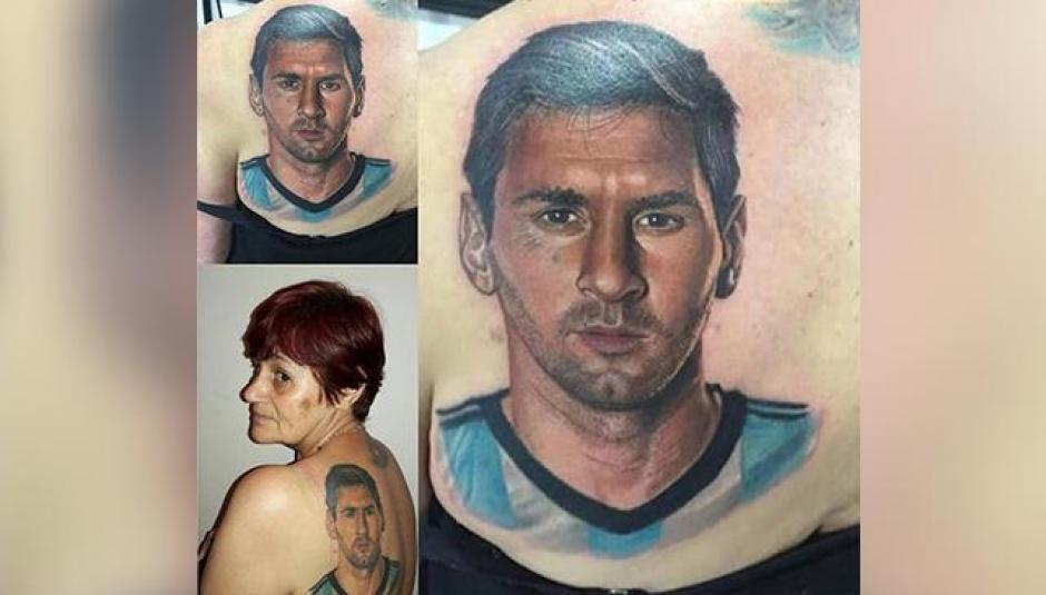 Mujer Se Hace Un Tatuaje Con El Rostro De Lionel Messi En La Espalda