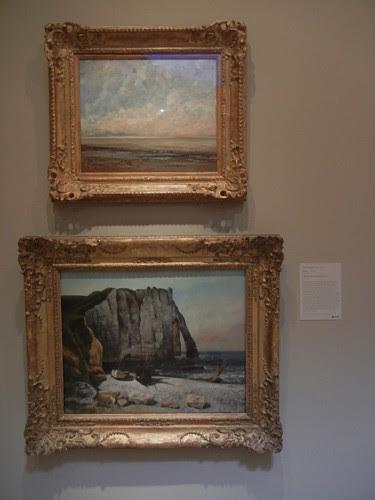 DSCN7786 _ Marine, c. 1865 -1866 (t), & Cliff at Étretat, the Porte d' Aval, 1869, Gustave Courbet (1819-1877), Norton Simon Museum, July 2013