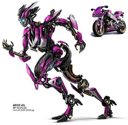 Art concepts of Arcee in robot and vehicle mode.