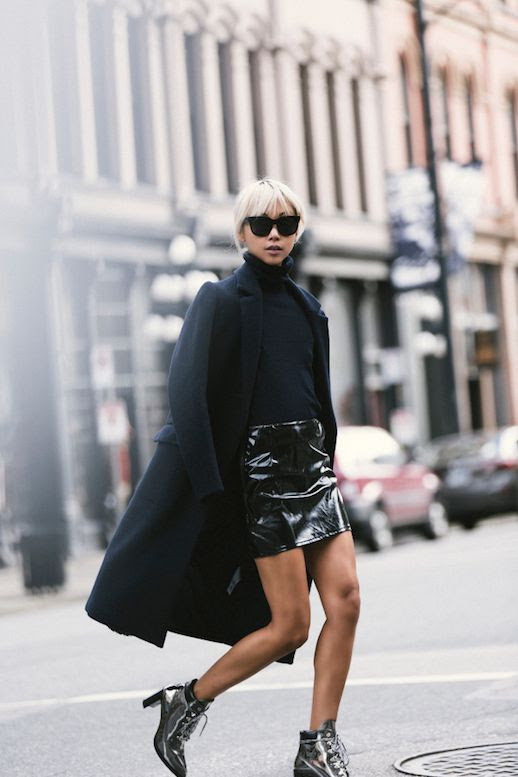 Le Fashion Blog Black Long Coat Patent Leather Mini Skirt Silver Boots Via The Haute Pursuit