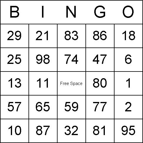 Printable bingo numbers