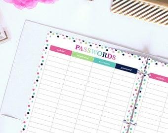 Items similar to Password Log - Printable Planner Insert - 8.5 x ...