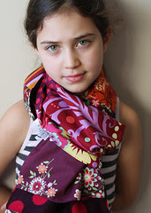 purple patchwork scarf