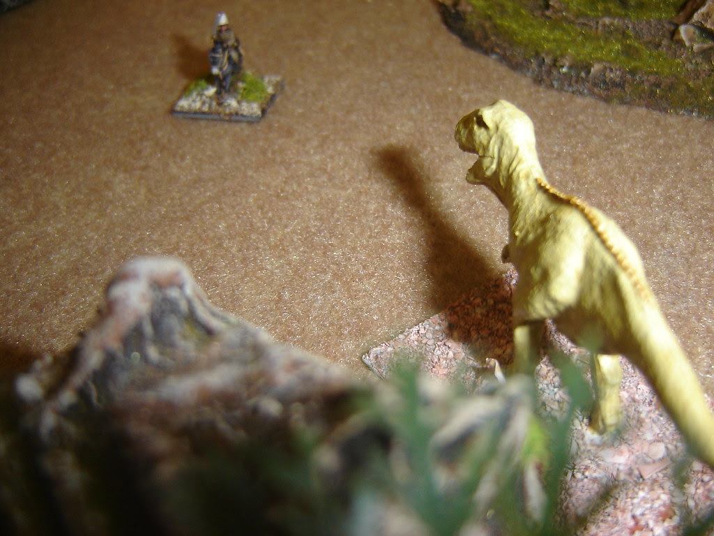 Nash attracts the attention of the Tyrannosaur