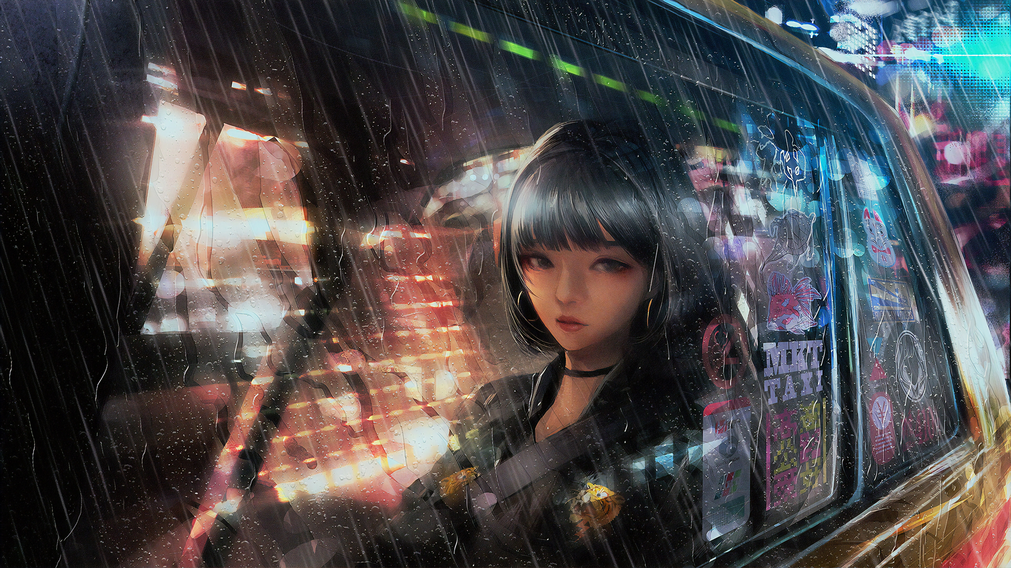 Anime Girl In Taxi Raining 4k, HD Anime, 4k Wallpapers ...