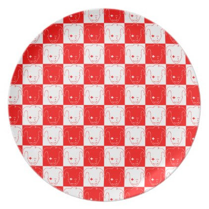 White, Red, And Black MTJ Dinner Plate