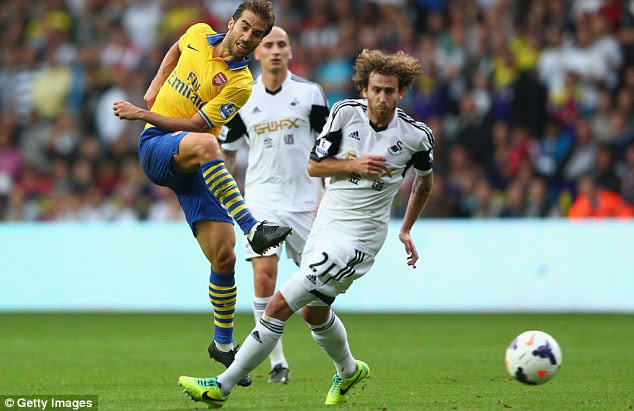 No entry: Mathieu Flamini (left) shoots past Jose Canas but can't find the net