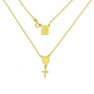 Colier rozariu cu medalioane si pandantiv cruce placat cu aur