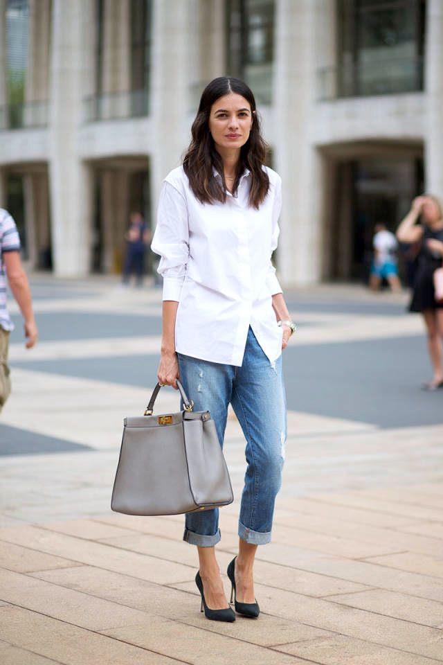 Le Fashion Blog -- NYFW Street Style: Leila Yavari A White Button Down Shirt, Grey Fendi Peekaboo Bag, Boyfriend Jeans And Heels -- Via Harpers Bazaar -- photo Le-Fashion-Blog-NYFW-Street-Style-Leila-Yavari-Simple-Classics-White-Shirt-Boyfriend-Jeans-Fendi-Peekaboo-Bag-Via-Harpers-Bazaar.jpg