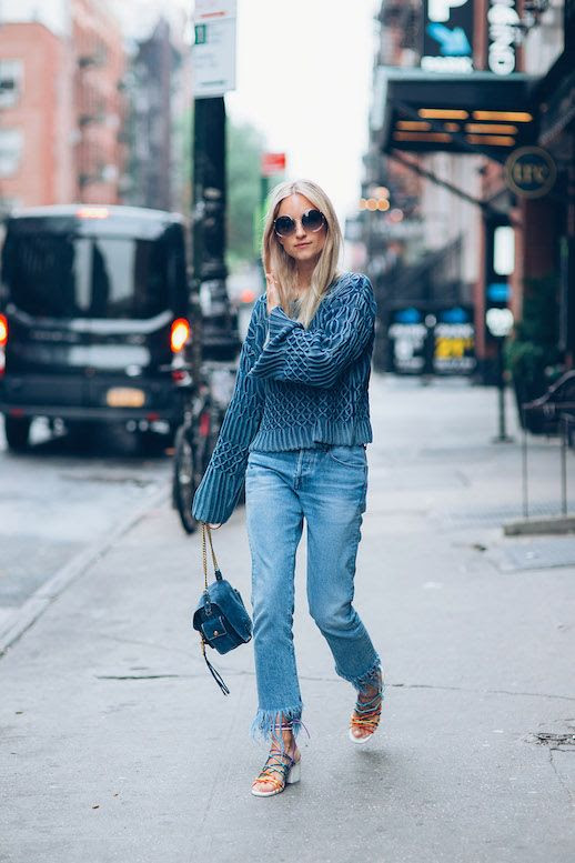 Le Fashion Blog Billowing Sleeves Frayed Denim Strappy Sandals Summer Style Via The Fashion Guitar