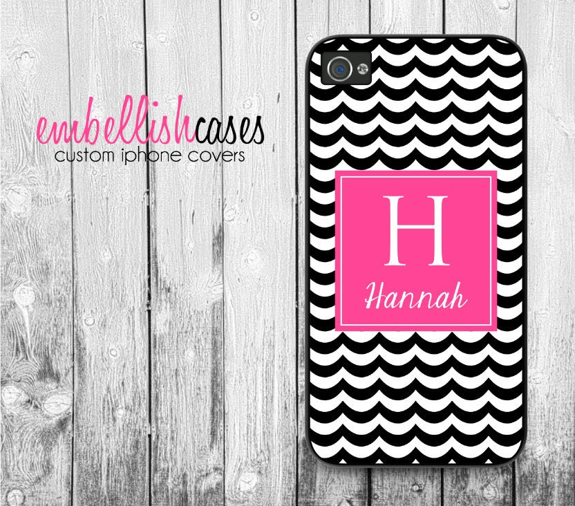 monogram iPhone 4 Case - personalized iphone case, black pink chevron iphone 4 case, initials iphone 4s case, 193