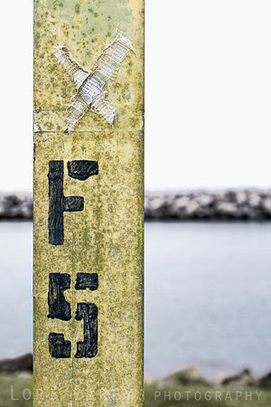 Bandage and grafitti on a sign post at Dana Point Harbor