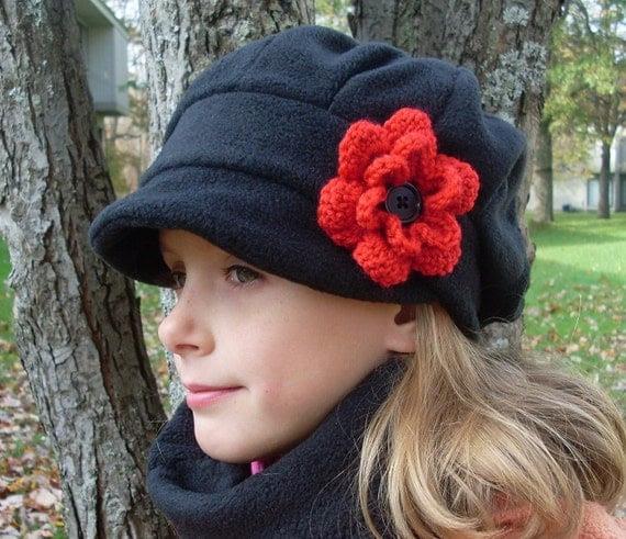 Handmade  teen preteen fleece winter  hat - black with red crochet flower - MADE TO ORDER