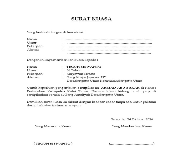 Contoh Surat Kuasa Pengambilan Sertifikat Di Bank Bri ...