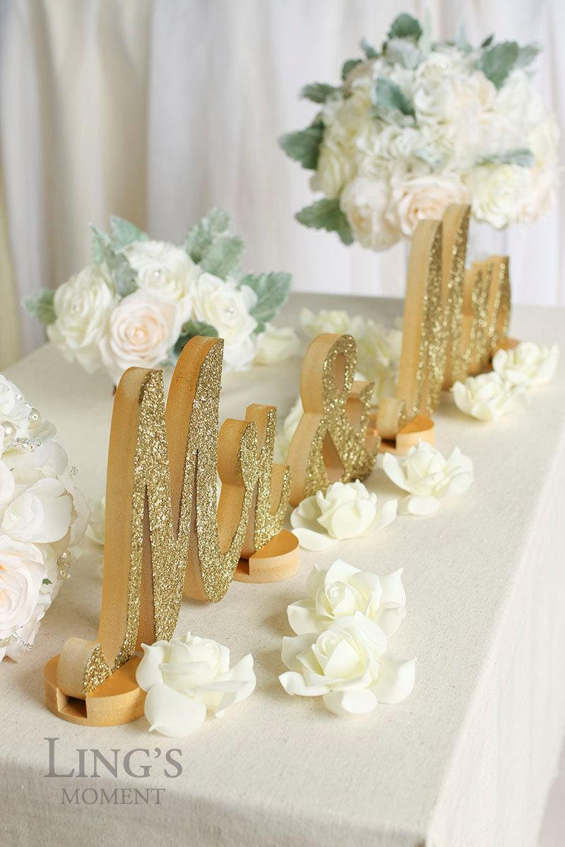 Glitter Letters Mr And Mrs Sweetheart Table Champagne Glitter Mr And