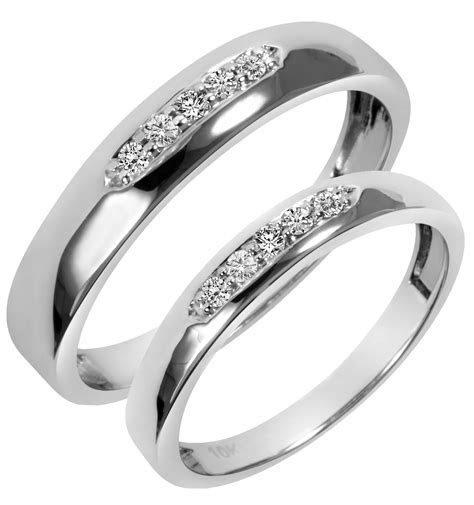 White Gold Wedding Ring Sets His And Hers   Diamondstud