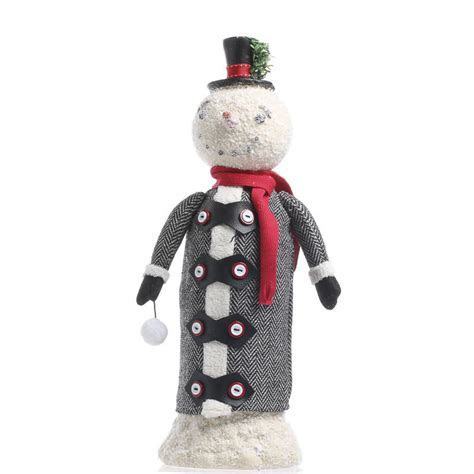 Vintage Inspired Paper Clay Snowman   Table Decor