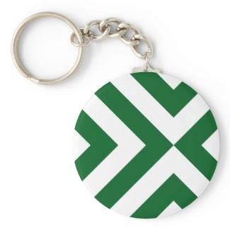 Green and White Chevrons Keychains