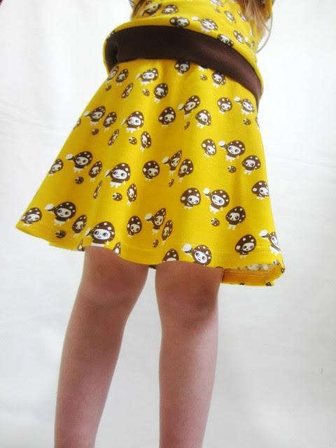 yellow mushroom skirt hem