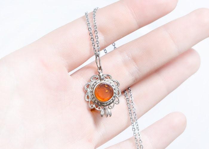 Baltic Amber Pendant - Filigree Setting Jewelry - Vintage Ornamental Jewelry