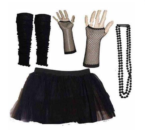 Four Peice Adult Womens 8-14 Black Tutu set Tutu Legwarmers Fishnet Gloves Beads 80s Fancy Dress Costume (RB