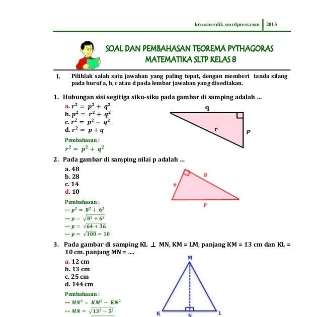 Contoh Soal Pythagoras Kelas 8 Guru Galeri