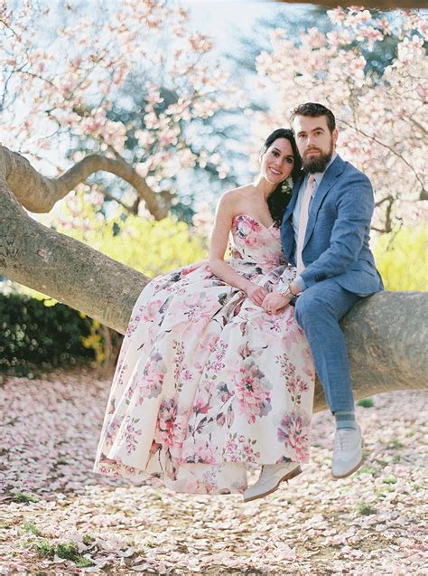 This Bride's Floral Dress was PERFECT for a Cherry Blossom