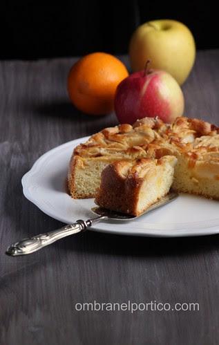 Torta di mele, arancia candita e cannella