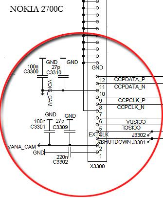 Nokia 2700C camera wiring