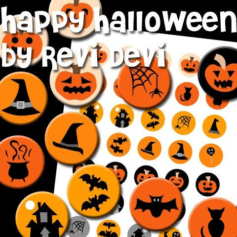 08008 HAPPY HALLOWEEN - PDF Printable Circle - Bottlecap size - Digital Collage Sheet - Images for badge button, magnet - Kawaii cute fun design - BUY 3 GET 1 FREE