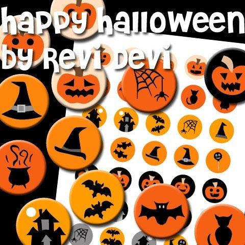 08008 HAPPY HALLOWEEN - PDF Printable Circle - Bottlecap size - Digital Collage Sheet - Images for badge button, magnet - Kawaii cute fun design - BUY 3 GET 1 FREE