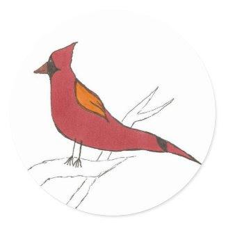 Cardinal Round Stickers