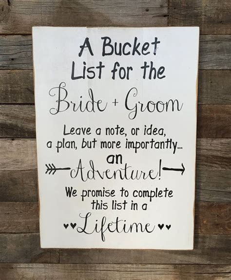 Large Wood Sign   A Bucket List for the BRIDE and GROOM