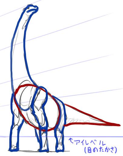ブラキオサウルスの描き方恐竜イラスト モンスターイラストの描き方