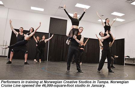 Performers in training at Norwegian Creative Studios in Tampa.