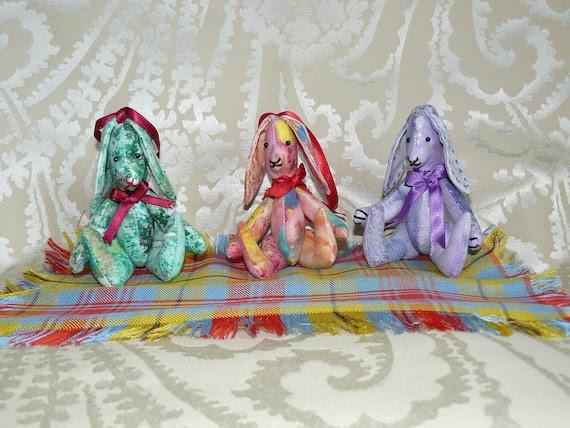 Bunny,rabbit, primitive, soft sculpture, jointed, animal. Folk art.