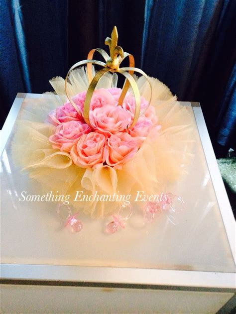 gold crowns  pink roses centerpieces tutus