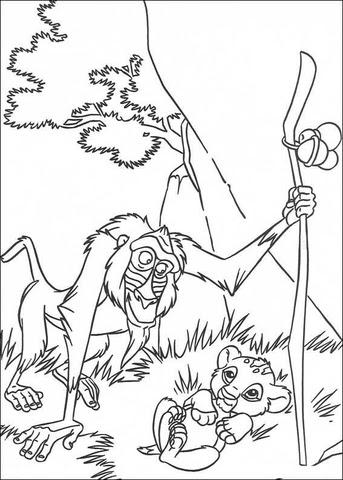 rafiki and baby simba coloring page  free printable