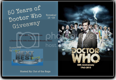 Enter to win the 50 Years of Doctor Who Giveaway. Ends Nov 29.