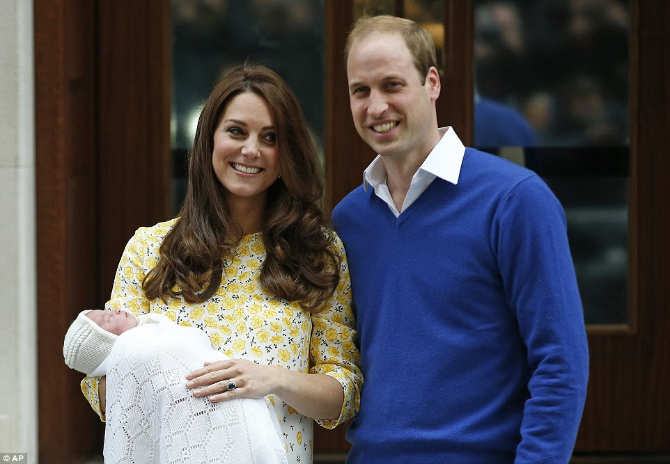The Duke and Duchess of Cambridge emerged from the Lindo Wing with their new baby girl wrapped in a white blanket just after 6pm